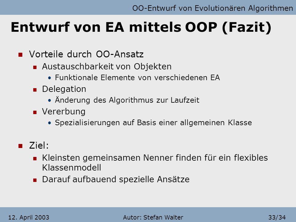 Entwurf von EA mittels OOP (Fazit)