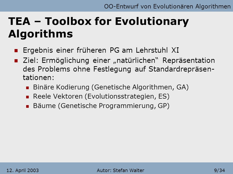 TEA – Toolbox for Evolutionary Algorithms
