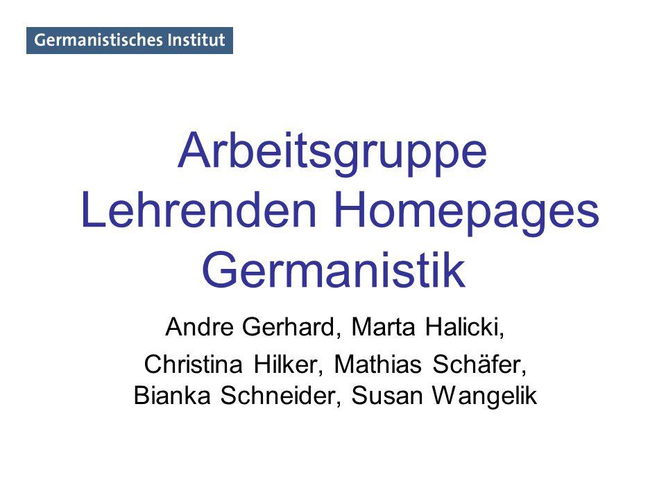 Arbeitsgruppe Lehrenden Homepages Germanistik