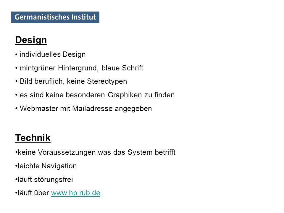 Design Technik mintgrüner Hintergrund, blaue Schrift