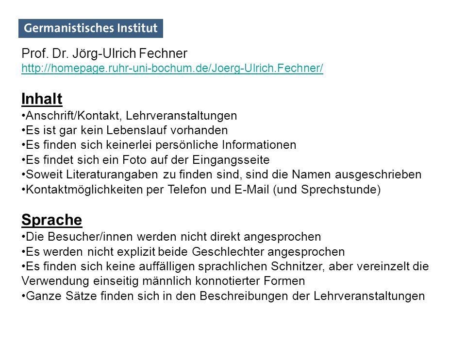 Inhalt Sprache Prof. Dr. Jörg-Ulrich Fechner