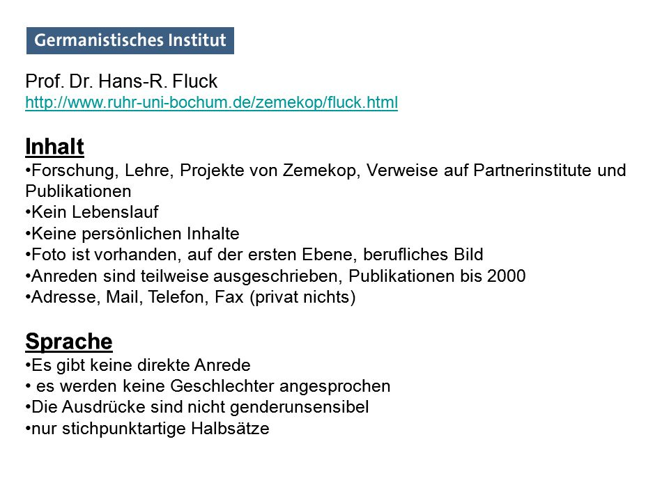 Inhalt Sprache Inhalt Sprache Prof. Dr. Hans-R. Fluck