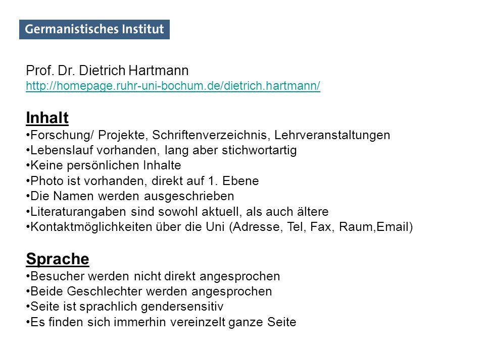 Inhalt Sprache Prof. Dr. Dietrich Hartmann