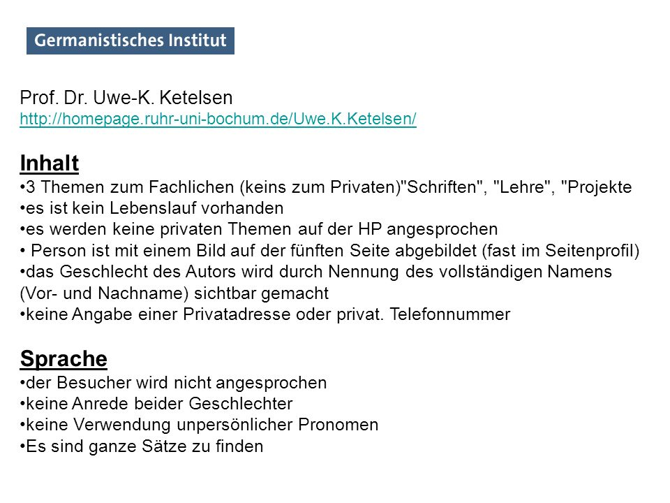 Inhalt Sprache Prof. Dr. Uwe-K. Ketelsen