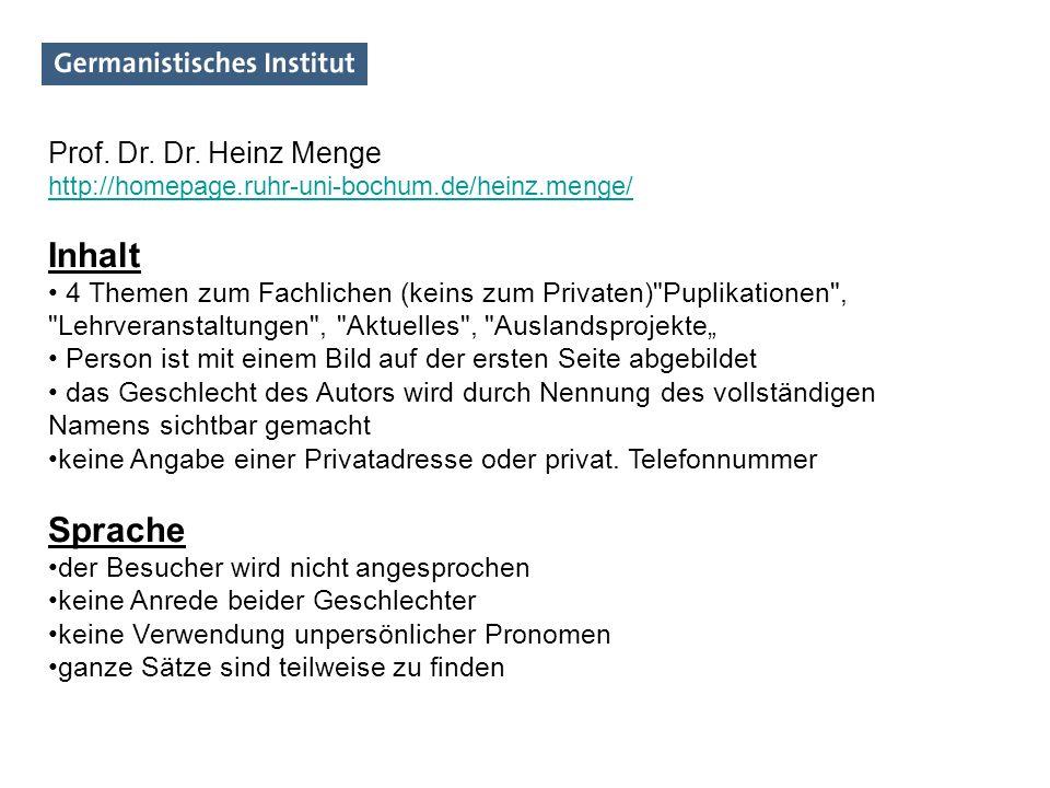 Inhalt Sprache Prof. Dr. Dr. Heinz Menge