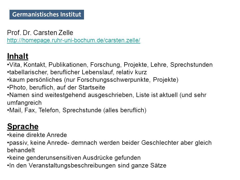 Inhalt Sprache Prof. Dr. Carsten Zelle