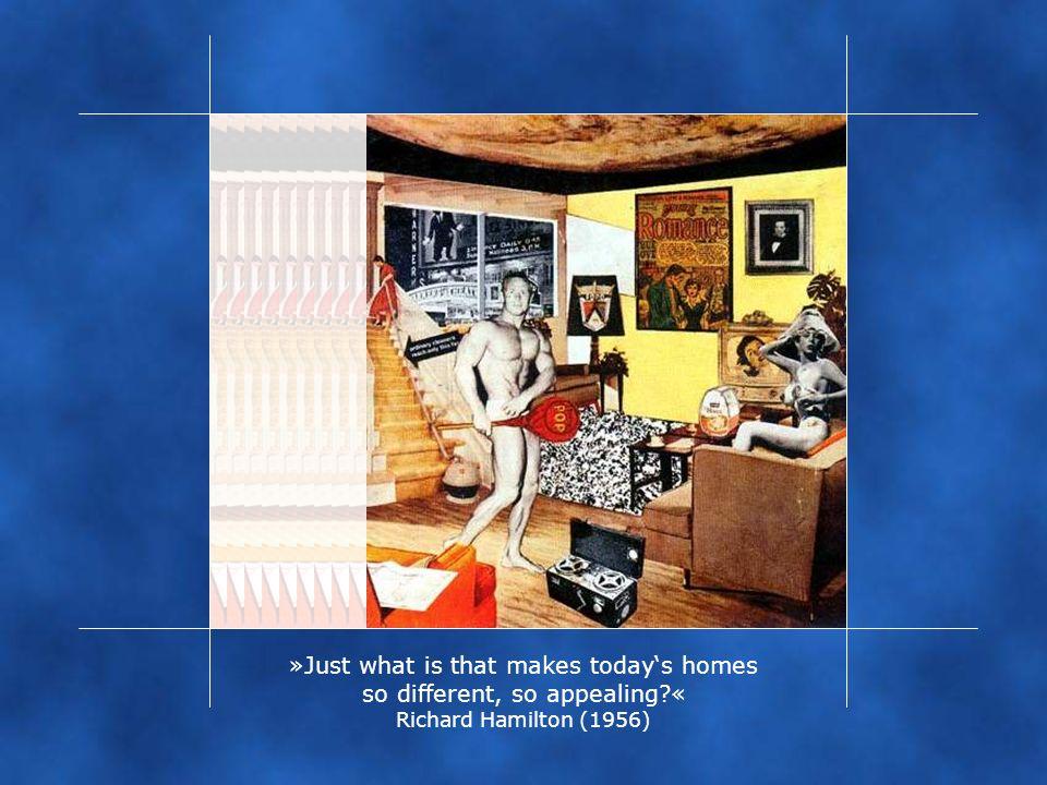 """Bereits 1956 nämlich hat Richard Hamilton die von Negt/Kluge 1972 angesprochene Thematik, wie ich finde, meisterlich umgesetzt. """"Just what is that makes today's homes so different, so appealing Mit dem ironischen Titel seiner Collage geht Hamilton sogar noch über Negt/Kluge hinausgeht. Die Haushalte, in die TV, Werbung usw. vordringen, unterscheiden sich eben nur scheinbar von einander, sind in Wahrheit aber alle einem normierten Konsumverhalten unterworfen."""