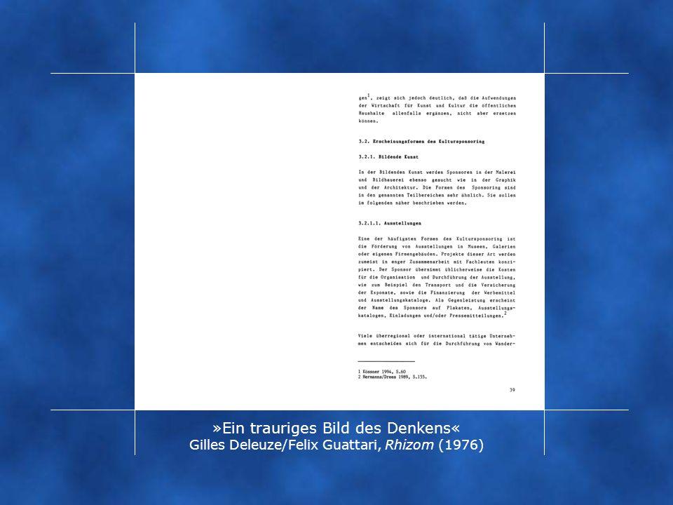 Ungeachtet der Bemühungen nicht nur von Deleuze/Guattari neue Formen der Organisation und Kommunikation wissenschaftlicher Inhalte zu entwickeln, ist das Erscheinungsbild von Examensarbeiten – hier eine Doppelseite aus meiner Arbeit - seit Jahrzehnten …