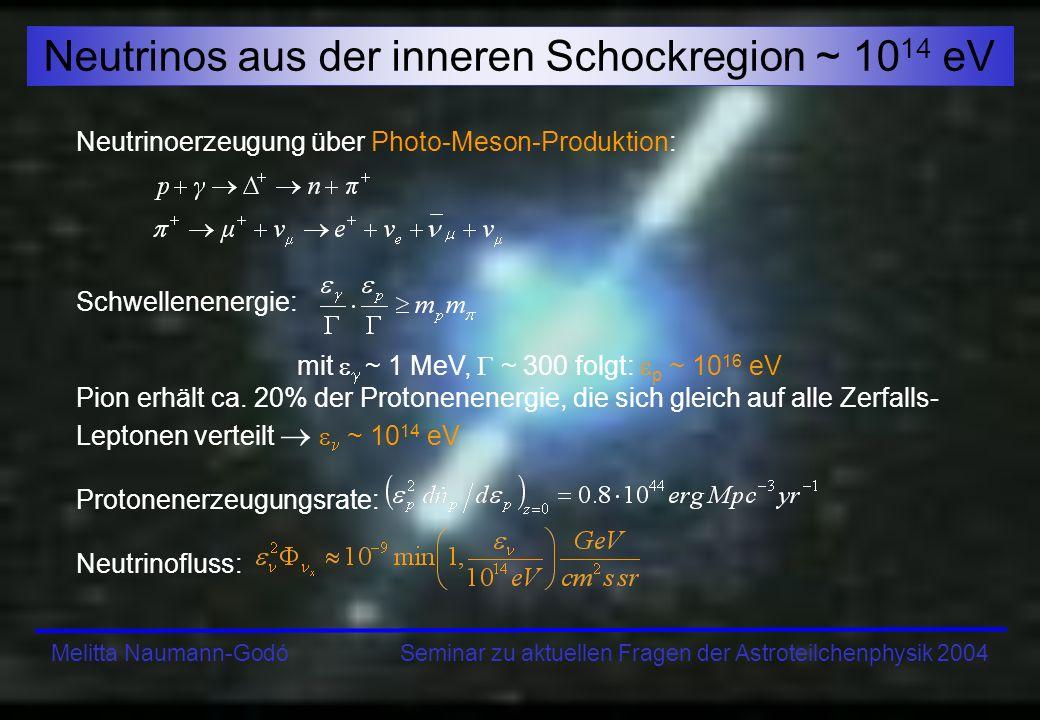 Neutrinos aus der inneren Schockregion ~ 1014 eV
