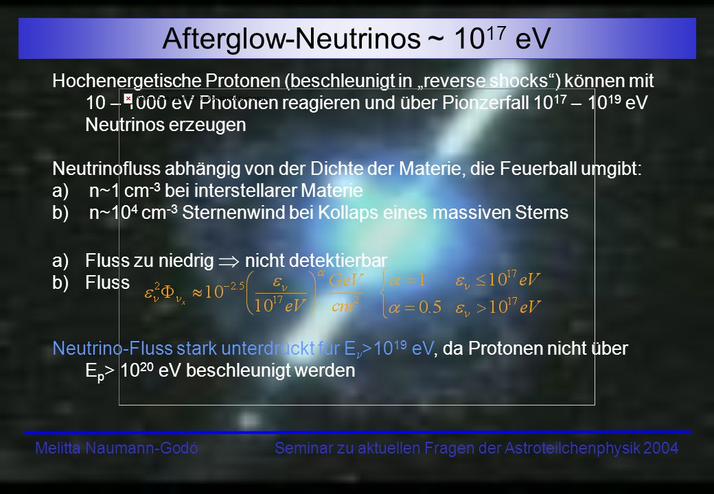 Afterglow-Neutrinos ~ 1017 eV