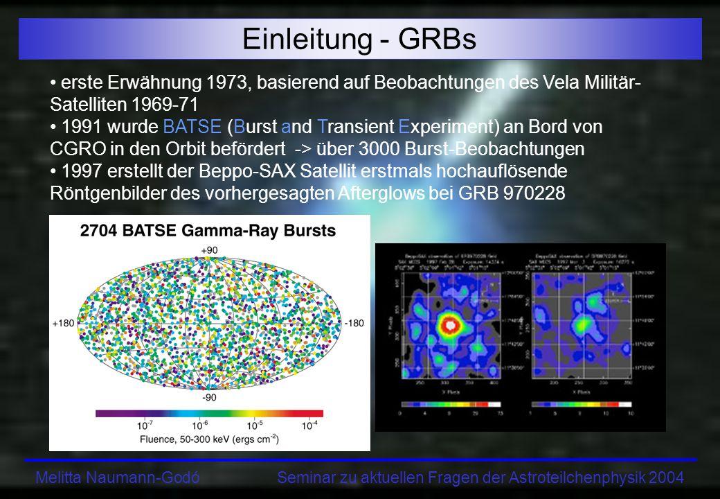 Einleitung - GRBs erste Erwähnung 1973, basierend auf Beobachtungen des Vela Militär-Satelliten 1969-71.