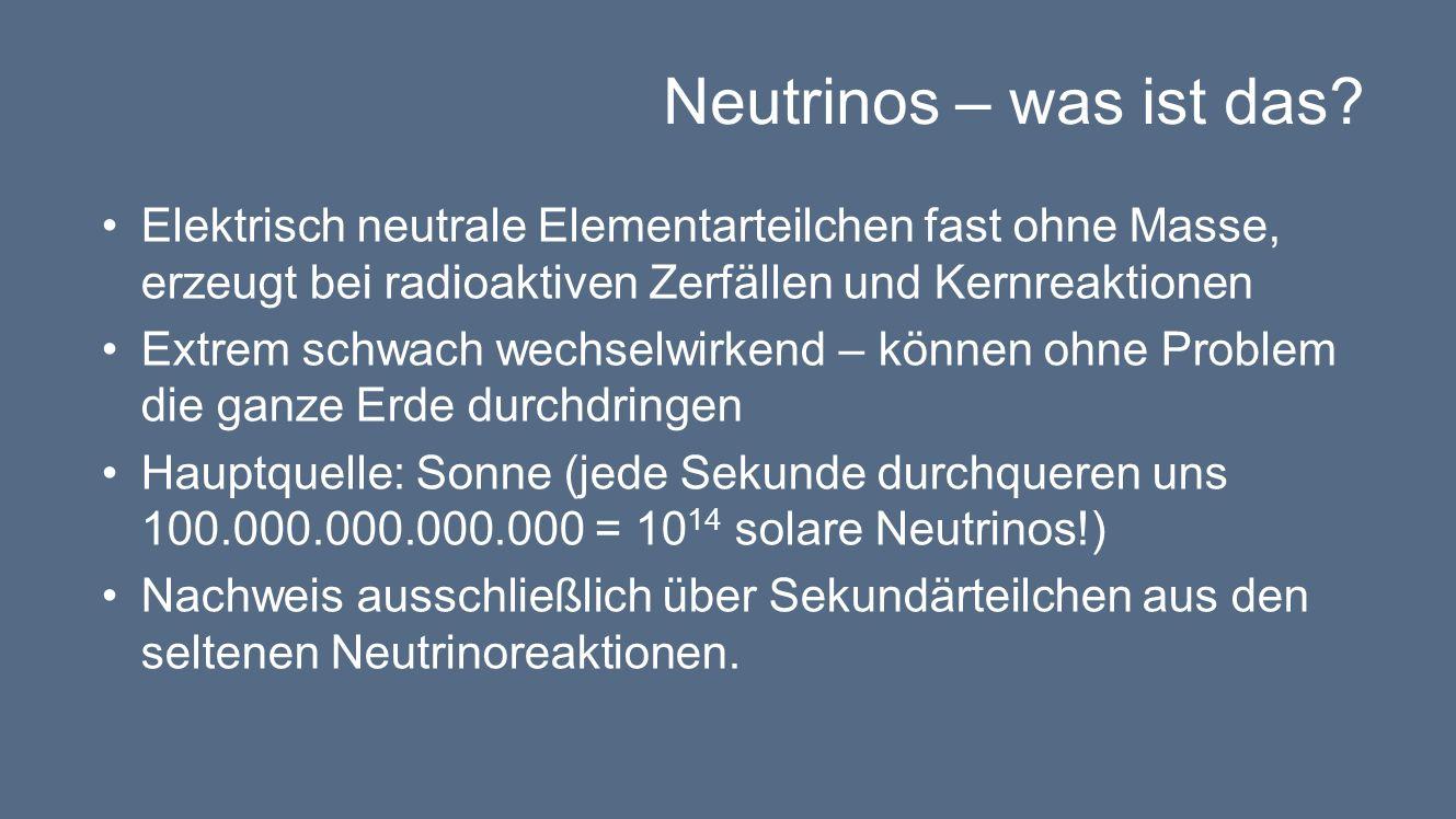 Neutrinos – was ist das Elektrisch neutrale Elementarteilchen fast ohne Masse, erzeugt bei radioaktiven Zerfällen und Kernreaktionen.