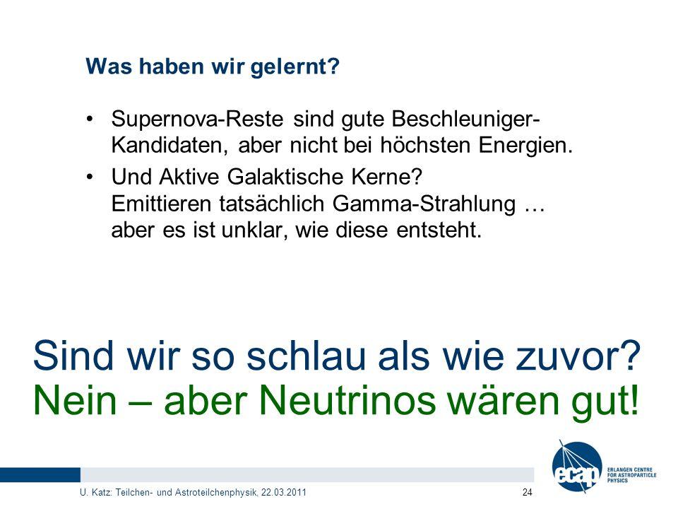 Sind wir so schlau als wie zuvor Nein – aber Neutrinos wären gut!