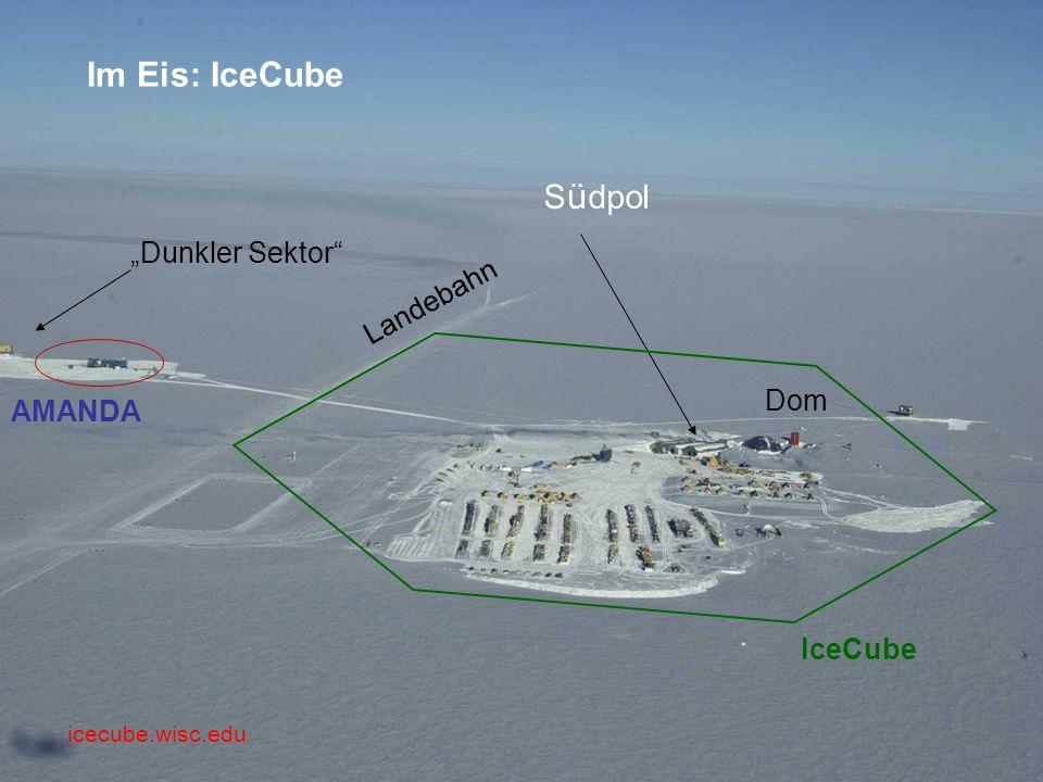 """Im Eis: IceCube Südpol """"Dunkler Sektor Landebahn Dom AMANDA IceCube"""