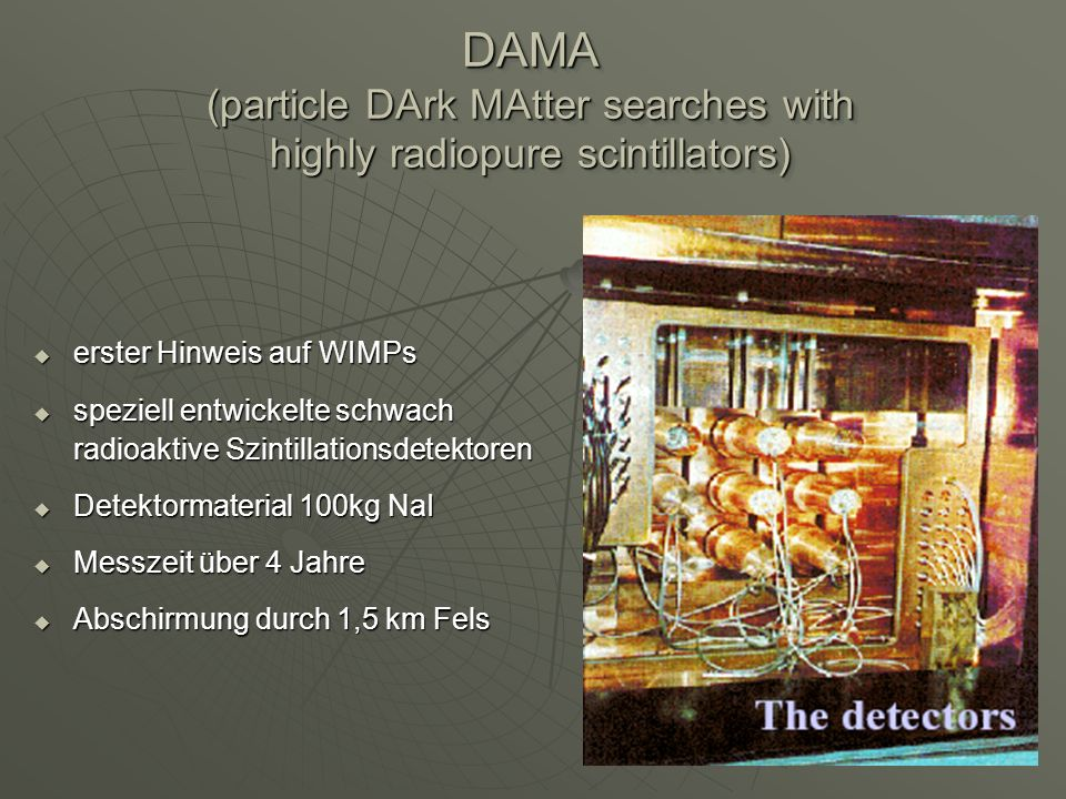 DAMA (particle DArk MAtter searches with highly radiopure scintillators)