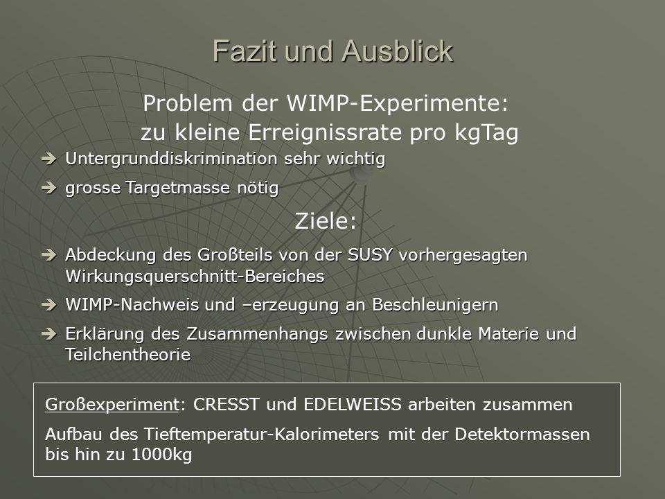 Fazit und Ausblick Problem der WIMP-Experimente: