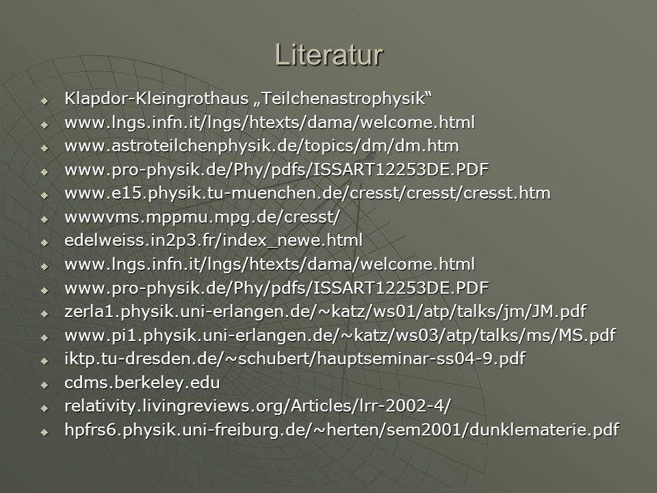 """Literatur Klapdor-Kleingrothaus """"Teilchenastrophysik"""