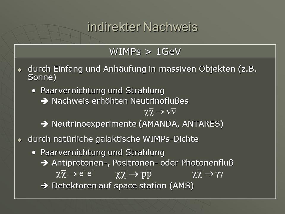indirekter Nachweis WIMPs > 1GeV