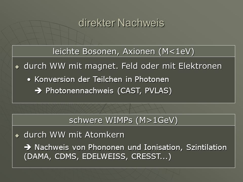direkter Nachweis leichte Bosonen, Axionen (M<1eV) durch WW mit magnet. Feld oder mit Elektronen.