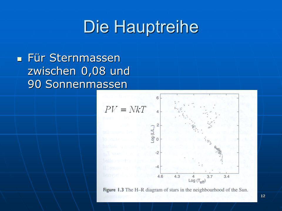 Die Hauptreihe Für Sternmassen zwischen 0,08 und 90 Sonnenmassen