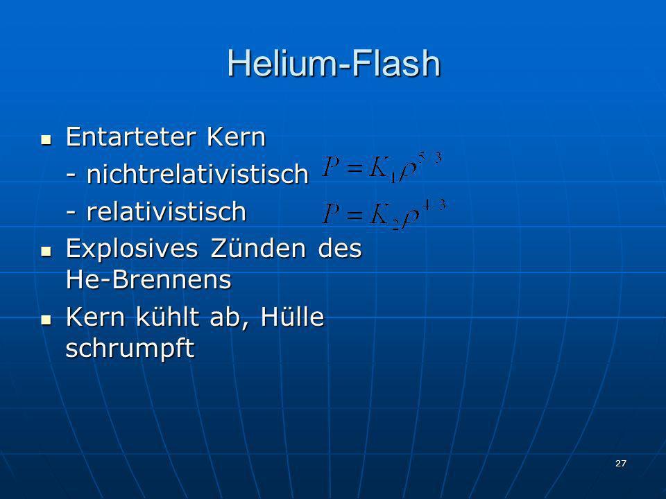 Helium-Flash Entarteter Kern - nichtrelativistisch - relativistisch