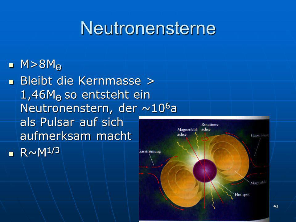 Neutronensterne M>8MΘ