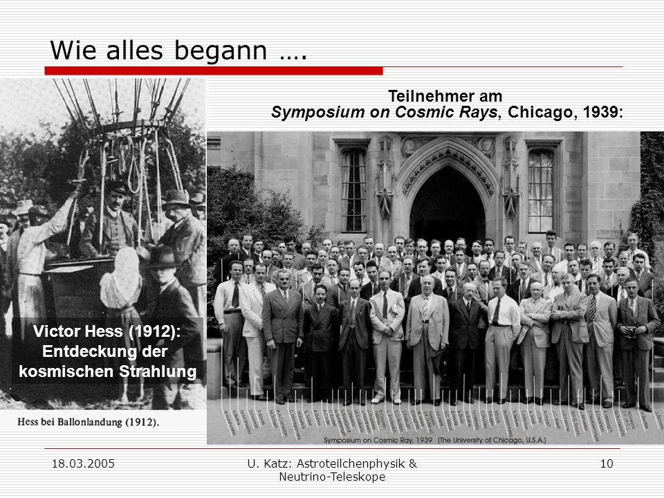 Wie alles begann …. Teilnehmer am Symposium on Cosmic Rays, Chicago, 1939: Victor Hess (1912): Entdeckung der kosmischen Strahlung.