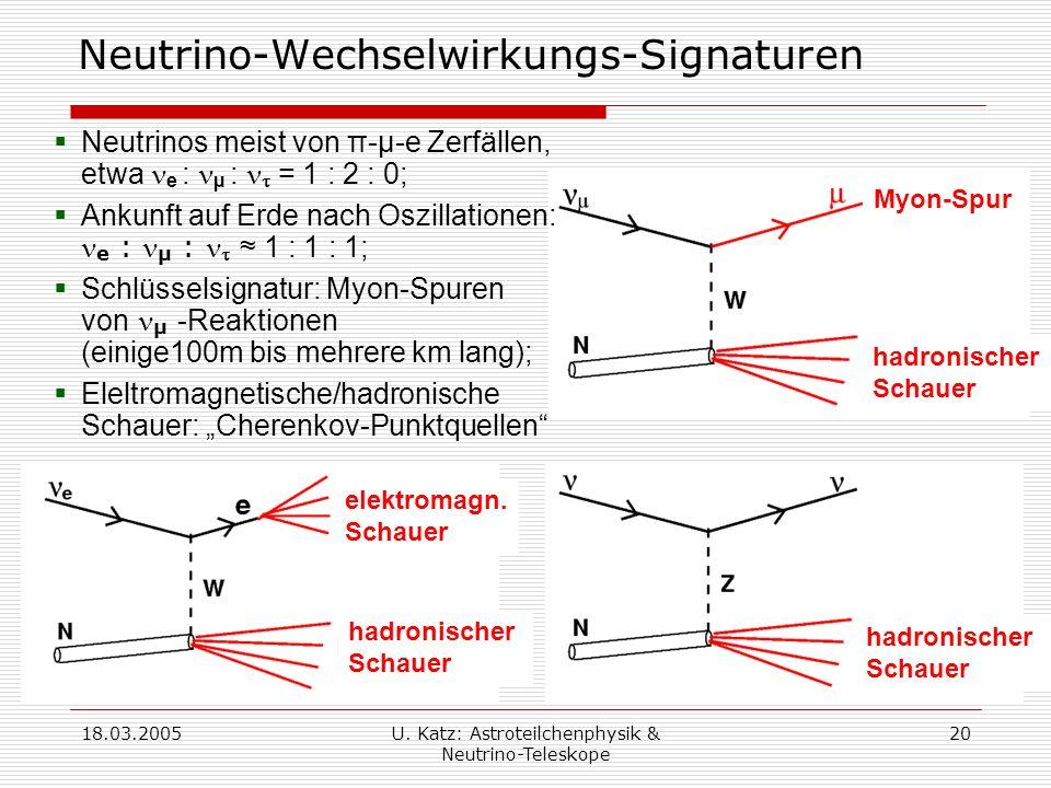 Neutrino-Wechselwirkungs-Signaturen