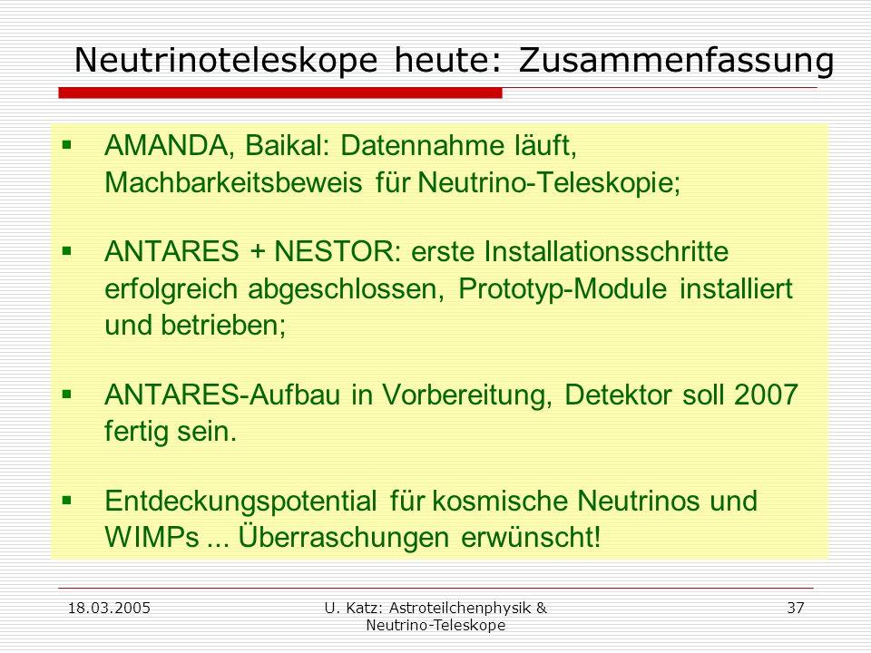 Neutrinoteleskope heute: Zusammenfassung