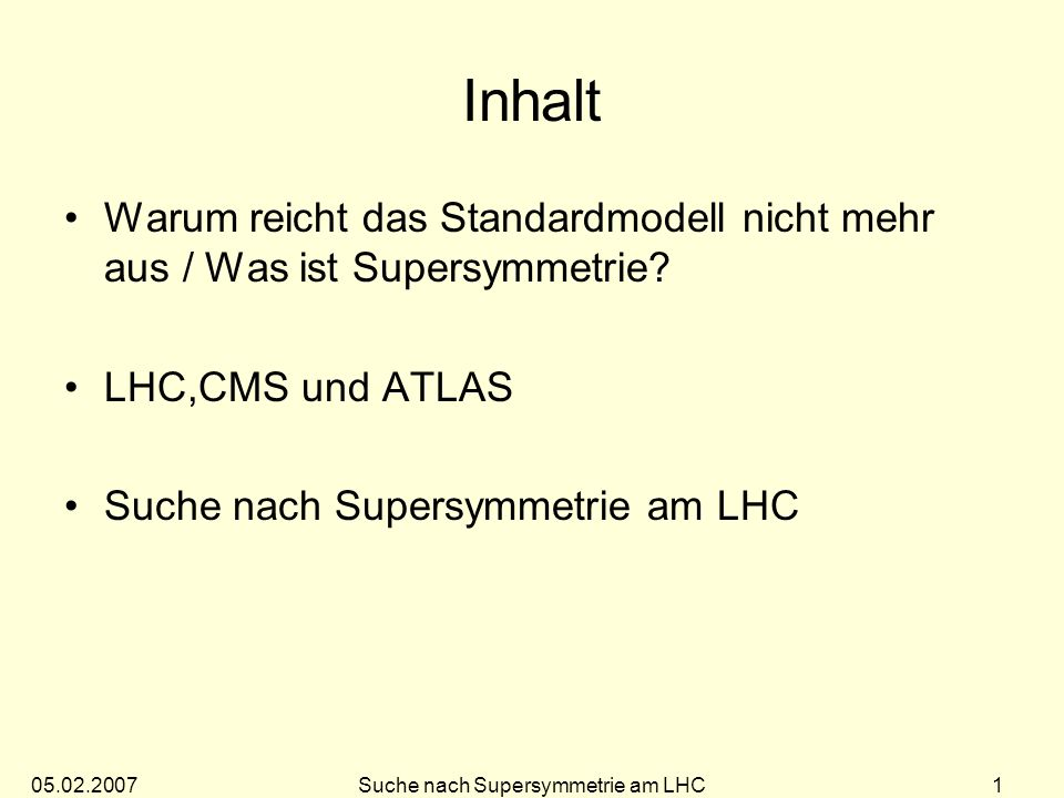 Suche nach Supersymmetrie am LHC