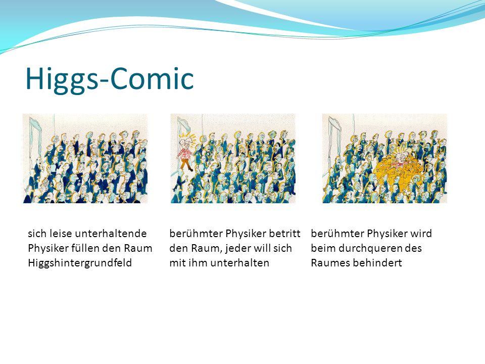 Higgs-Comic sich leise unterhaltende Physiker füllen den Raum Higgshintergrundfeld.