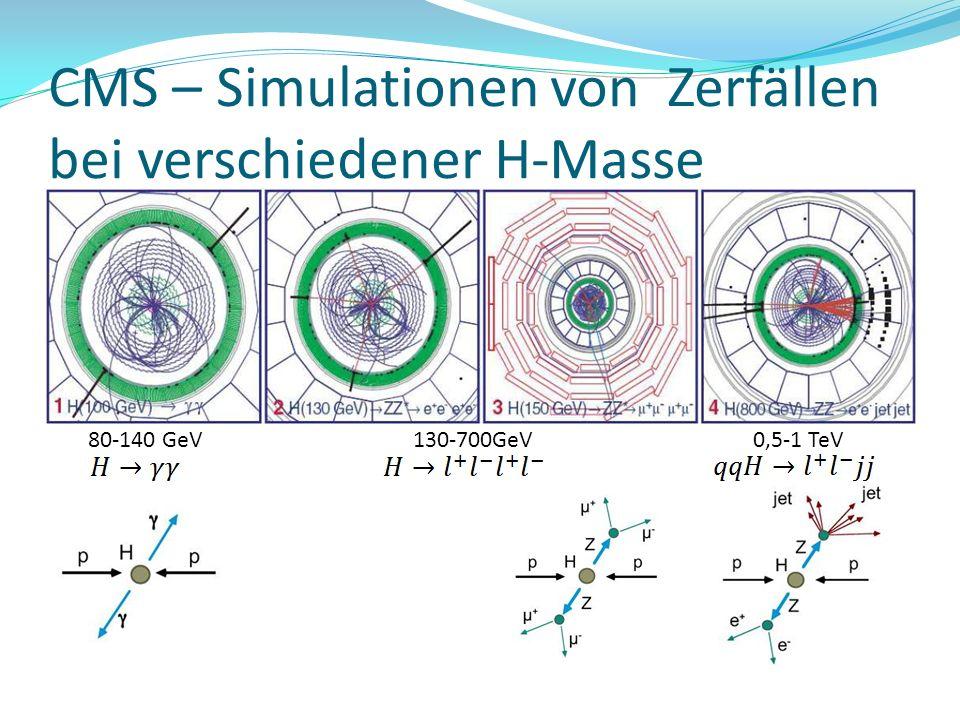 CMS – Simulationen von Zerfällen bei verschiedener H-Masse