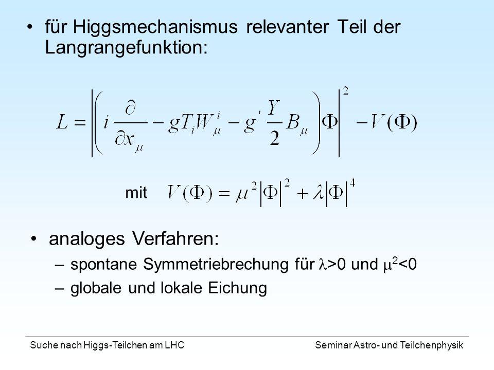 für Higgsmechanismus relevanter Teil der Langrangefunktion: