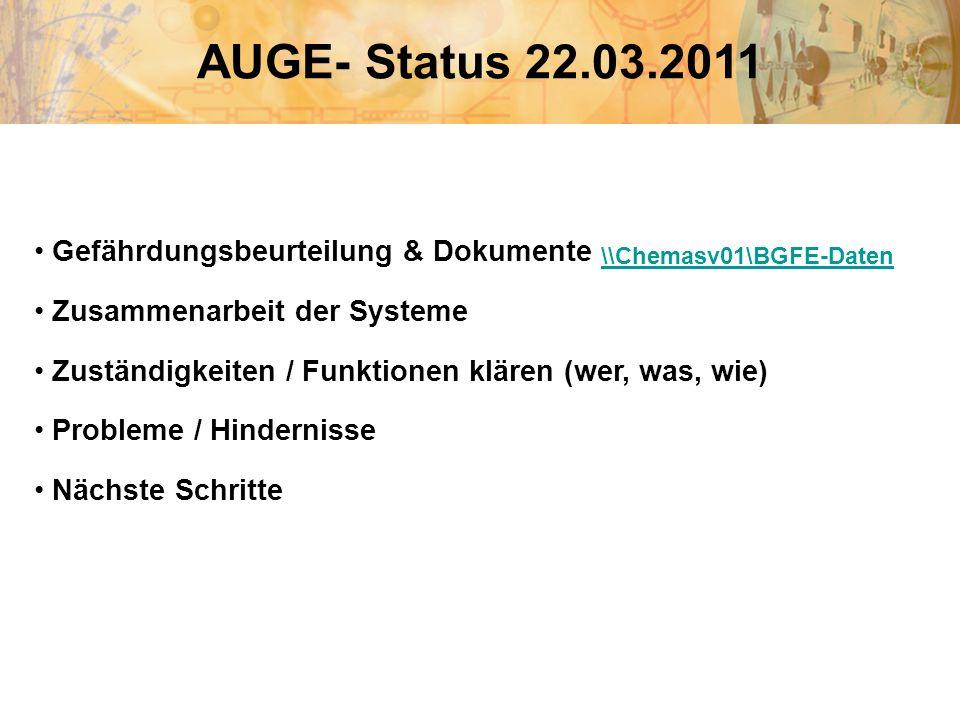 AUGE- Status 22.03.2011 Gefährdungsbeurteilung & Dokumente