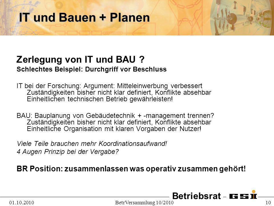 IT und Bauen + Planen Zerlegung von IT und BAU