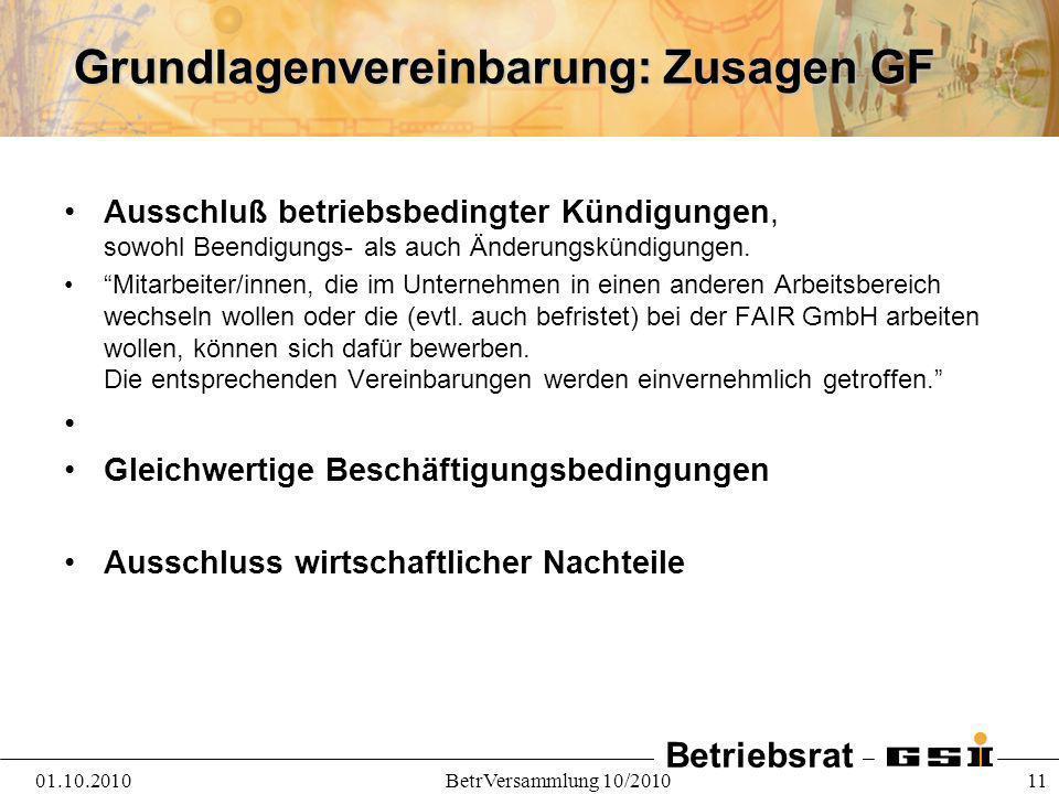 Grundlagenvereinbarung: Zusagen GF