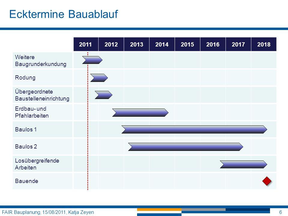 Ecktermine Bauablauf 2011. 2012. 2013. 2014. 2015. 2016. 2017. 2018. Weitere Baugrunderkundung.