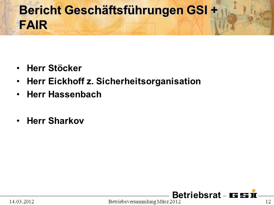 Bericht Geschäftsführungen GSI + FAIR
