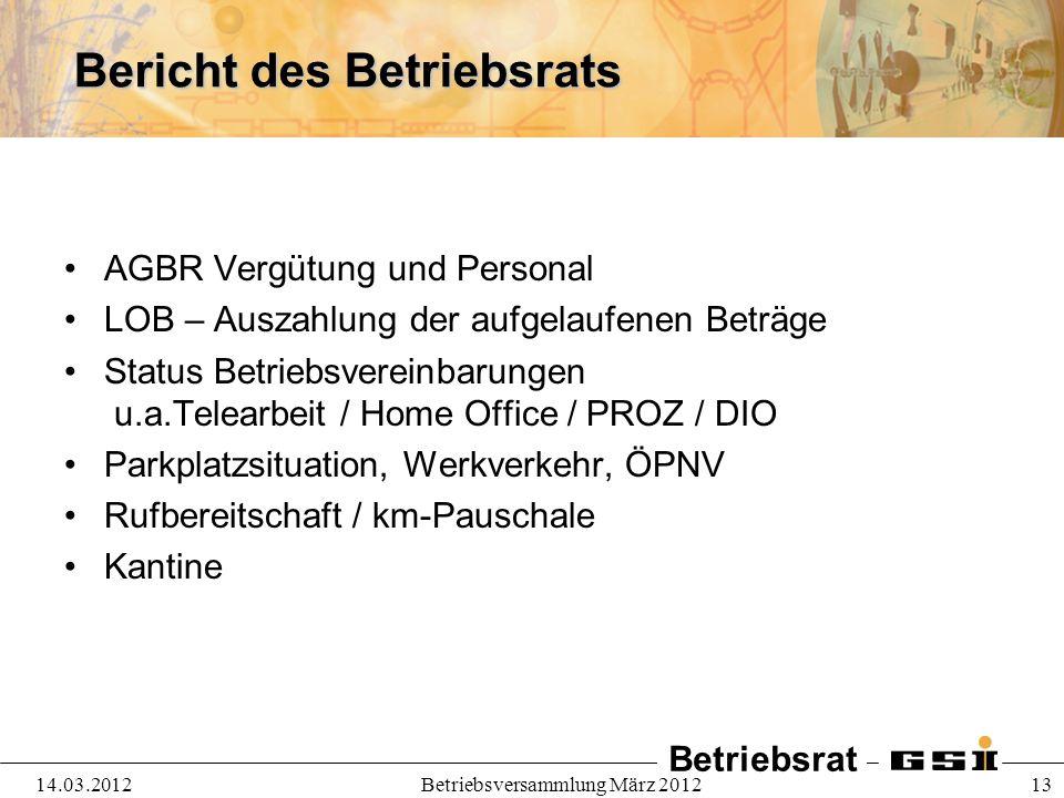Bericht des Betriebsrats