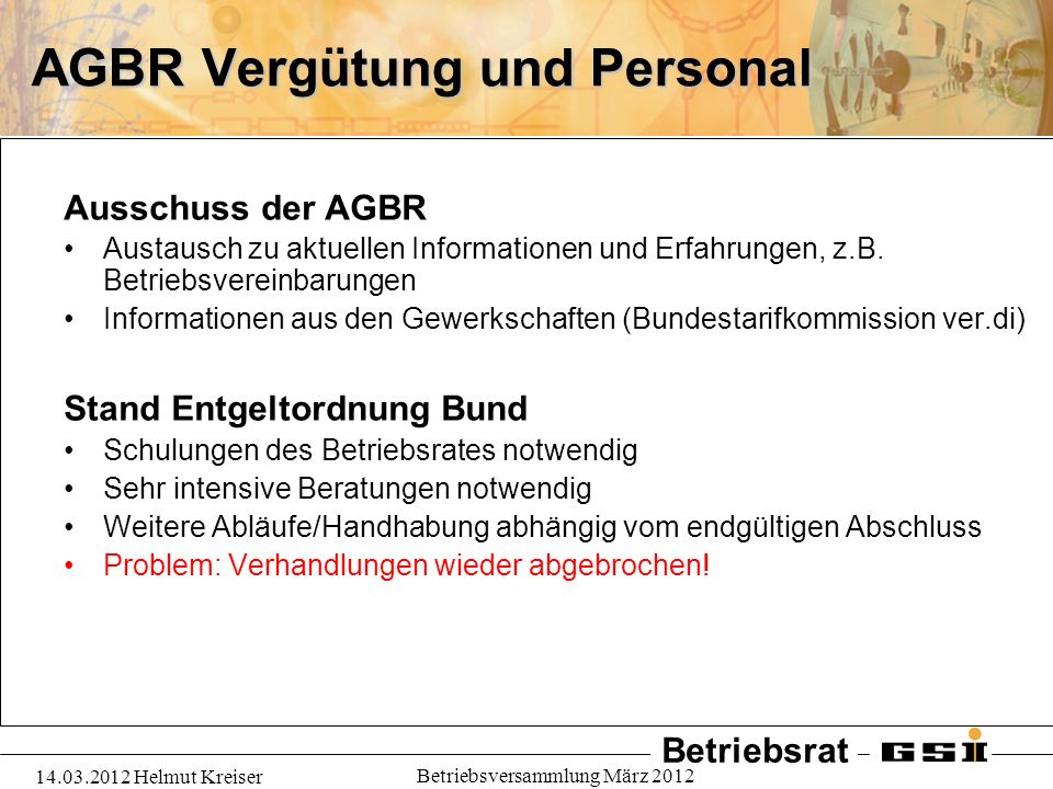AGBR Vergütung und Personal