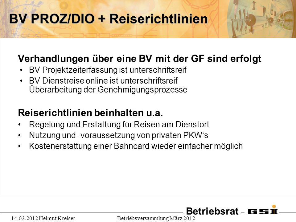 BV PROZ/DIO + Reiserichtlinien