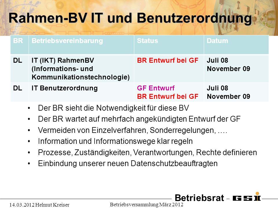 Rahmen-BV IT und Benutzerordnung