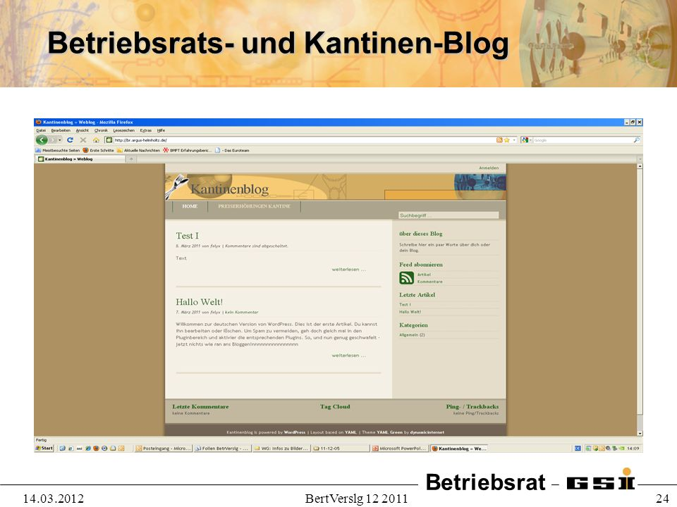Betriebsrats- und Kantinen-Blog