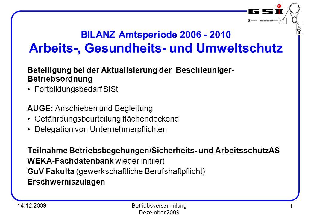 BILANZ Amtsperiode 2006 - 2010 Arbeits-, Gesundheits- und Umweltschutz