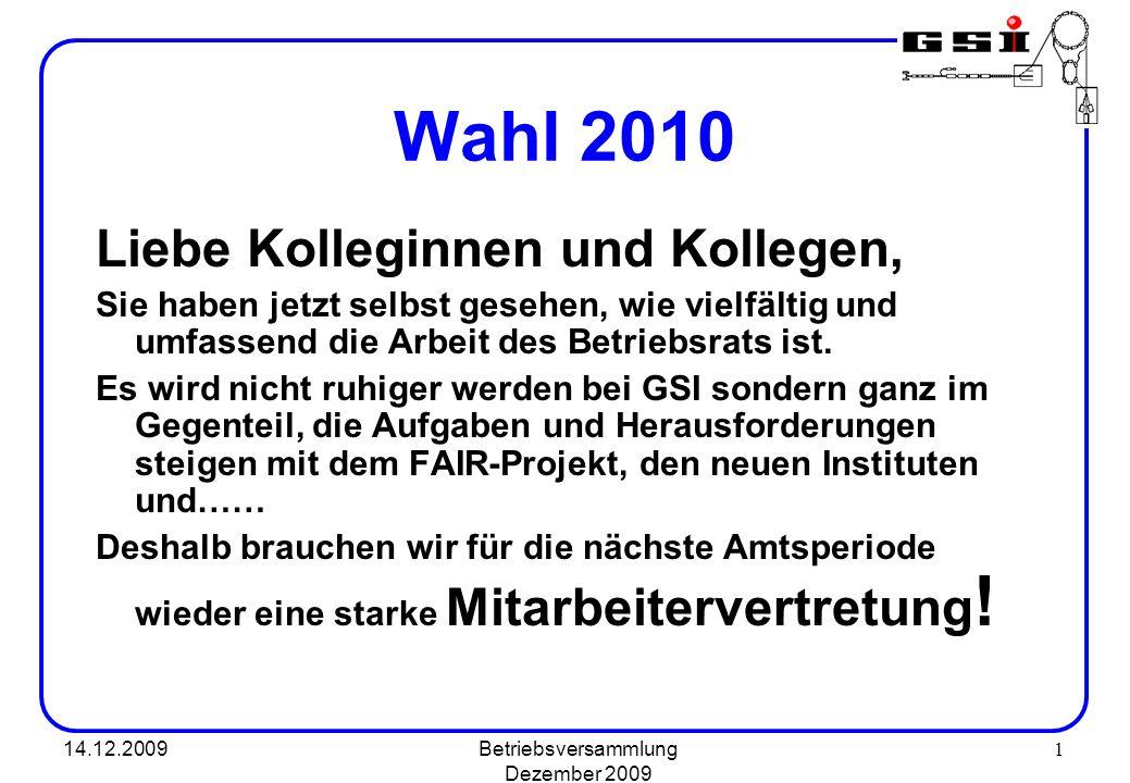 Betriebsversammlung Dezember 2009
