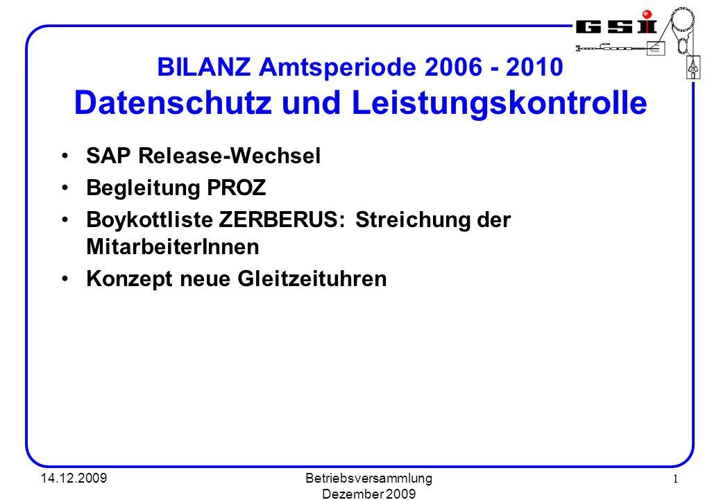BILANZ Amtsperiode 2006 - 2010 Datenschutz und Leistungskontrolle