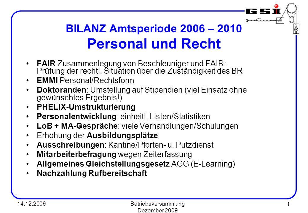 BILANZ Amtsperiode 2006 – 2010 Personal und Recht