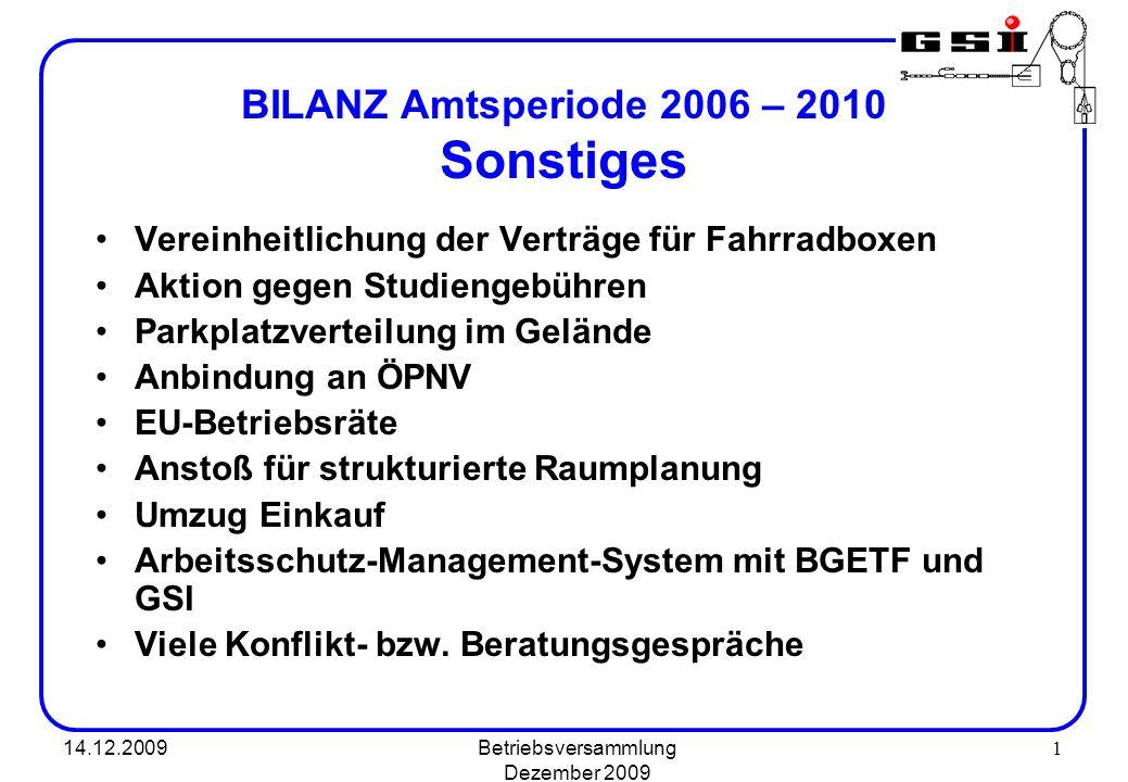 BILANZ Amtsperiode 2006 – 2010 Sonstiges