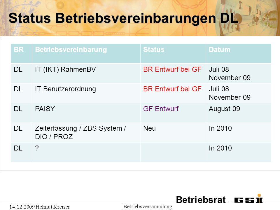 Status Betriebsvereinbarungen DL