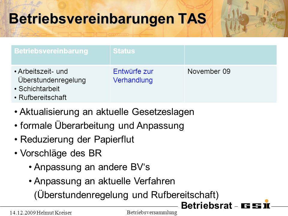 Betriebsvereinbarungen TAS